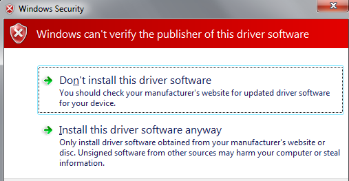 Untrusted publisher dialog box